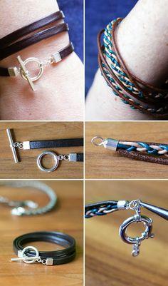 Schmuck, Leder, Armbänder, DIY