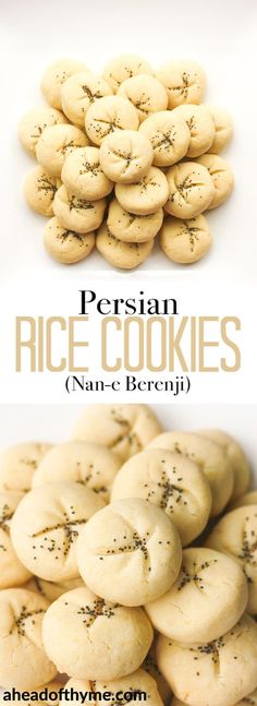 """""""Persian Rice Cookies with Poppy Seeds (Nan-e Berenji) are irresistible, melt-in-your-mouth cookies made of rice flour, fragrant rose water and crunchy poppy seeds. Rice Flour Recipes, Baking Recipes, Cookie Recipes, Dessert Recipes, Rice Cookies, Brownie Cookies, Cookies Et Biscuits, Persian Desserts, Persian Recipes"