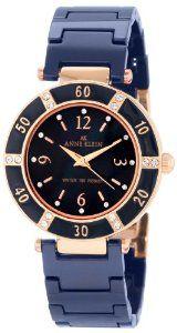 Anne Klein Women's 109416RGBL Swarovski Crystal Rose Gold-Tone and Blue Ceramic Bracelet Watch