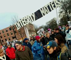 Integrity matters Womens march on Washington Portland  Oregon protest signs  Resistance resist