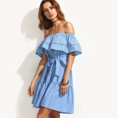 7dc54d15ca0 SheIn Summer Dresses For Women Clothing 2016 Blue Tie Waist Hollow Insert  Ruffle Short Sleeve Off
