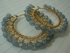 stone blue & gold hoop earrings