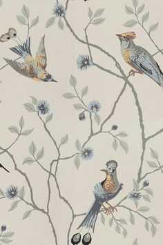 A classic pattern of interwoven branches and exotic birds in wonderful harmony, this version on a turquoise background will give the room its own dynamic. Turquoise Wallpaper, Turquoise Background, White Wallpaper, Flower Wallpaper, Antique Wallpaper, Wallpaper Art, Bathroom Wallpaper, Custom Wallpaper, Wallpaper Online