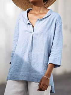 ninacloak.com Cheap Blouses, Blouses For Women, T Shirts For Women, Women's Blouses, Blouse Online, Mode Outfits, Blouse Styles, Casual T Shirts, Blue Blouse