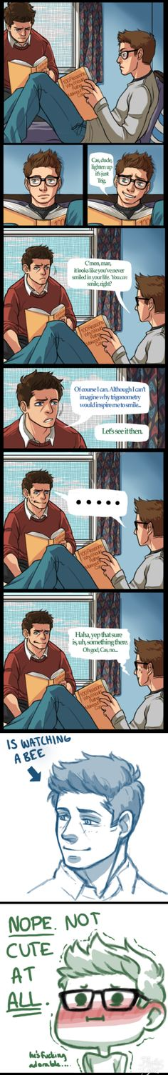 Bees are Cas's weakness. Destiel College or Highschool au. IDK