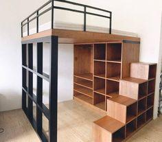 Bedroom Loft Apartment Storage Ideas For 2019 Shelves In Bedroom, Small Room Bedroom, Closet Bedroom, Trendy Bedroom, Bedroom Storage, Small Rooms, Bedroom Apartment, Small Spaces, Storage Stairs