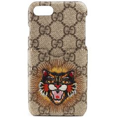 Women's Gucci Embroidered Angry Cat Gg Supreme Iphone 7 Case (2 665 SEK) ❤ liked on Polyvore featuring accessories, tech accessories, gucci, apple iphone case, embroidered iphone case, iphone cases and iphone cover case