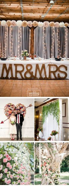 33 Wedding Backdrop Ideas For Ceremony, Reception and More ❤ Browse our wedding backdrop ideas gallery, find for yourself perfect paper or floral ideas with different colors and textures. See more: http://www.weddingforward.com/wedding-backdrop-ideas/ #wedding #decoration