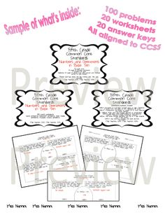 100 printable math problems 5th Grade Common Core State Standards!!!