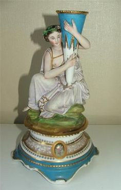 Antique c1880s French or Minton Bisque Porcelain Figurine Spill Vase.