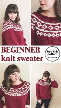 This holiday knit sweater is just the thing you need to make to wear to your Christmas party Find my easy pattern and tutorial here knit sweater howto freepattern easypattern forbeginners knitsweater diy crafts Knitting and weaving tips and patterns Tejido Fair Isle, Punto Fair Isle, Motif Fair Isle, Fair Isle Knitting Patterns, Knit Patterns, Easy Sweater Knitting Patterns, Free Christmas Knitting Patterns, Stitch Patterns, Knitting Paterns