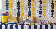 Simple but stunning DIY backdrop. fun between the kitchen and living room