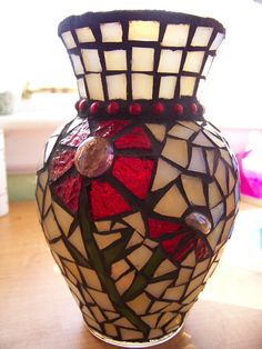 Red and Cream Mosaic Vase by mycentirmosaics on Etsy, $45.00
