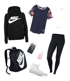 """""""School Clothes #15"""" by lily141 on Polyvore featuring JudeFrances, NIKE, Victoria's Secret, Converse and Essie"""