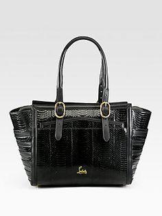 Classy... Christian Louboutin Farida Snakeskin Top Handle Bag