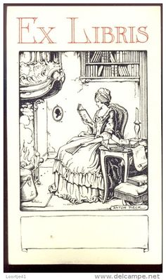 Anton Pieck (1895-1987), Dutch / bookplate depicts woman in 17th century dress reading book by fireplace