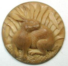 Hand Carved Vegetable Ivory Button Detailed Rabbit Design Large Size.