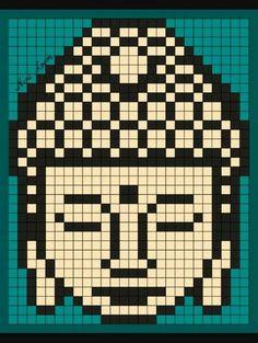 Buddha knitting chart Dmc Cross Stitch, Cross Stitching, Cross Stitch Embroidery, Cross Stitch Designs, Cross Stitch Patterns, Quilt Patterns, Hama Beads Patterns, Beading Patterns, Pixel Art