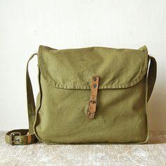 49f15d3ba1f5 Vintage Military Canvas Bag, Green Army USSR Bag, Crossbody Bag, Military  Messenger Bag