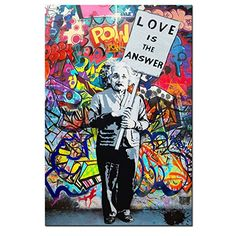 """DVQ Art Framed Art Einstein """"Love is Answer"""" Canvas Print Painting Colorful Figure Street Graffiti Wall Art Pics for Living Room Decor Ready to Hang 1 PCS Graffiti Canvas Art, Canvas Artwork, Canvas Art Prints, Painting Prints, Painting Abstract, Street Art Love, Artwork For Living Room, Banksy Art, Art Pictures"""