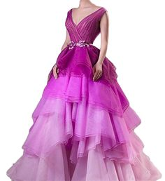 Dydsz Women's V Neck Gradient Color Long Evening Prom Dresses V Neck Plus Size D96 ** Click on the image for additional details. (This is an affiliate link) #PromandHomecomingDress