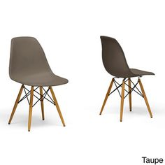 Azzo Beige Plastic Mid-Century Modern Shell Chairs (Set of 2)   Overstock.com Shopping - The Best Deals on Dining Chairs