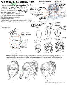 Random Face Drawing Tips by ~ShadesofNight on deviantART