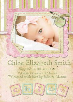 Customized Photo Baby Girl Birth by StaciasDesignStudio on Etsy, $12.00