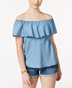 Update your casual collection with American Rag's pullover top, styled with a ruffled off-the-shoulder neckline and chambray fabric. | Tencel | Machine washable | Imported | Elasticized off-the-should