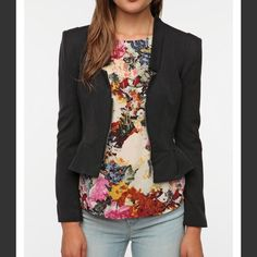 cropped, square-shoulder blazer- sparkle and fade Black, cropped, square-shoulder blazer- sparkle and fade- Urban Outfitters- S... Never worn Sparkle & Fade Jackets & Coats Blazers