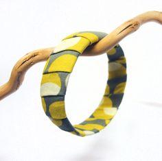 Recycled cuff bracelet  bangle Retro by GabardineCouture on Etsy, 18.00