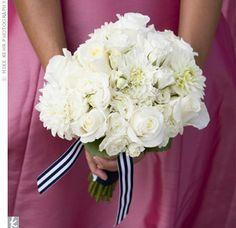 Bouquet with blue & white stripe ribbon