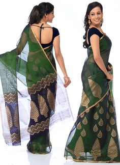 Fascinating Green Silk Cotton Sico Saree