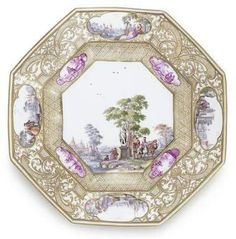 A Meissen octagonal plate from the Christie-Miller service.
