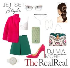 """""""Jet Set Style With DJ Mia Moretti & The RealReal: Contest Entry"""" by tessawarongan on Polyvore featuring Miu Miu, Valentino, Arts & Science, Yves Salomon, Manolo Blahnik, Tory Burch, Hershesons, Wet Seal, Michael Kors and Nixon"""