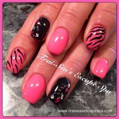 Pink & Black by TraiSeasEscape - Nail Art Gallery nailartgallery.nailsmag.com by Nails Magazine www.nailsmag.com #nailart #sephoranailspotting @Sharon Chisholm Art Gallery Inspired by http://www.luminousnailsandbeauty.com.au/