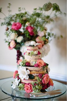 Naked Wedding Cake.  Afloral.com has high-quality faux and preserved flowers for your DIY wedding cake.  Pinned by Afloral.com from http://styleunveiled.com/marsala-pantone/