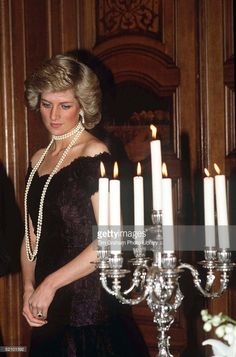 Princess Diana At A Dinner At Hamburg City Hall Germany Wearing A Black Lace Evening Dress...