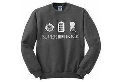 SuperWhoLock Fandom Sweatshirt - Many sizes available - Supernatural Doctor Who Sherlock multifandom tumblr unisex gift on Etsy, $35.00