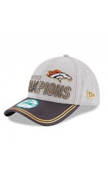 88b1393c0 NFL Men s Denver Broncos New Era Heather Gray Graphite 2015 AFC Conference  Champions Locker Room Adjustable Hat