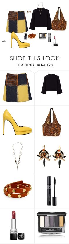 """""""Black"""" by dmiddleton ❤ liked on Polyvore featuring mode, Marni, Jaeger, Yves Saint Laurent, NOVICA, Betsey Johnson, Tory Burch, Christian Dior, Chanel en women's clothing"""