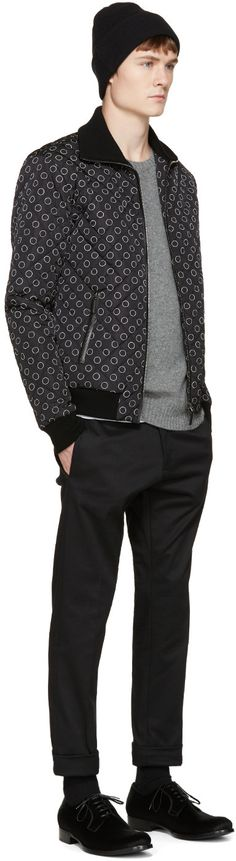 Dolce & Gabbana Black & White Reversible Printed Bomber