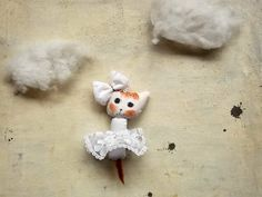 the bride stuffed cat plushie tiny doll in cotton - miniature pet toy - decor for pet lovers - handmade kitty doll - Rita - pinned by pin4etsy.com