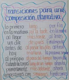 narrative writing and organizing writing / transition words Dual Language Classroom, Bilingual Classroom, Bilingual Education, Spanish Classroom, Classroom Ideas, Spanish Anchor Charts, Writing Anchor Charts, Spanish Teaching Resources, Spanish Lessons