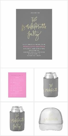 Modern and hand lettered The Bachelorette Party invitation and party supply suite by MontgomeryFest for Zazzle.