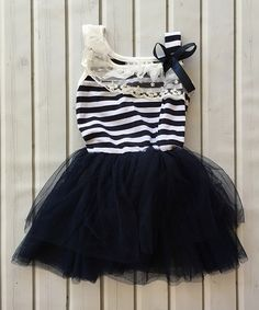Look at this Navy & White Tutu Dress - Infant, Toddler & Girls on #zulily today!