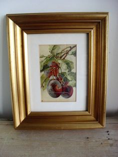Vintage PRINT of PLUMS in Gilded Frame Vintage Picture FRUIT Print Retro Print Moulded Gold Frame Mounted & Framed Print Ready to Hang by BigGirlSmallWorld on Etsy
