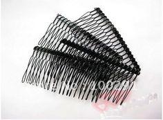 100piece/lot 70mm Black Tone Metal Hair Combs Haircombs Jewelry Findings Accessories Nickel Free!! $57.89