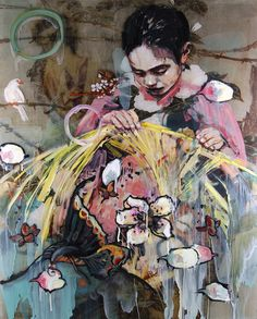 "Hung Liu- ""Weaving Maiden"" 2008, mixed media on panel, 52 x 41"""