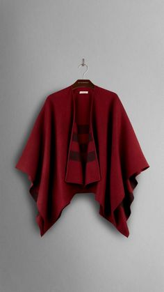 Check-Lined Wool Wrap   Burberry